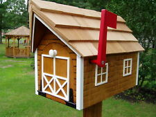 Amish Handmade Handcrafted Rural Mailbox w Flag USPS Cedar w/ White Trim