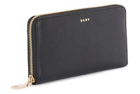 DKNY 💋NWT $128 Bryant Large Zip Around Black Leather Phone📞Case Clutch Wallet
