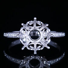 10mm Round 10K White Gold Semi-Mount Setting Natural Diamonds Engagement Ring