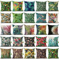 EE_ TROPICAL PLANT LEAVES FLOWER LINEN CUSHION COVER PILLOW CASE HOME DECOR ORNA