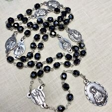 SEVEN SORROWS CHAPLET rosary black hematite crystals made in Poland  18""