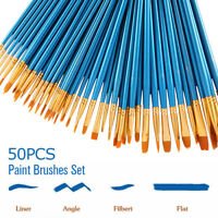 50Pcs Artist Paint Brush Set Nylon Hair Watercolor Acrylic Oil Painting Drawing