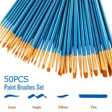 50Pcs. Artist Paint Brush Set Nylon Hair Watercolor Acrylic Oil Painting Drawing