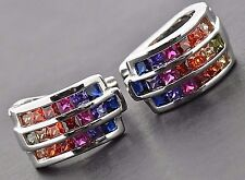 925 Sterling Silver Round Hoop Huggie Hinged MuliColor Rainbow Sapphire Earrings