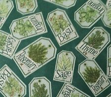 Herb Garden BTY Angela Anderson Quilting Treasures Plant Tags on Dark Teal