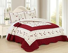 All American Collection New 3pc Embroided Floral Bedspread/Quilt Set