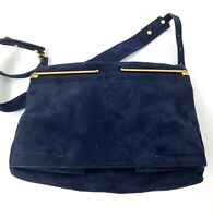 Lanvin Women's Crossbody Bag Blue Felt Suede Leather Suede Small Purse Casual T1