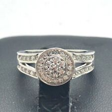 Sterling Silver 925 CZ Flower Cluster Round Halo Split Bail Cocktail Band Ring 7