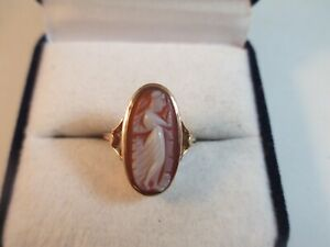 STUNNING ANTIQUE 9ct ROSE GOLD SHELL CAMEO RING, BIRMINGHAM, 1914 SIZE K1/2 2.8g