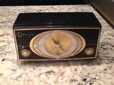 Mid Century Black Bulova Clock Radio Model 140 Series. Works! Good Shape