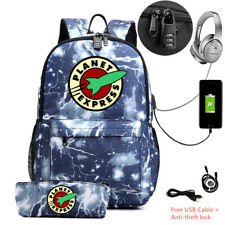 Set of 2 Futurama Planet Express backpack with pencil case USB charge school bag