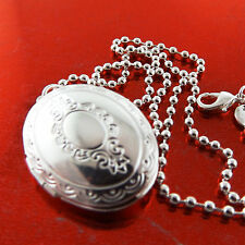 A879 GENUINE REAL 925 STERLING SILVER S/F ANTIQUE LOCKET PENDANT NECKLACE CHAIN
