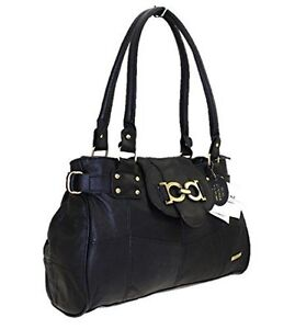 HQ womens Leather Office Weekend Shoulder HandBag Large Patch Tote Fashion Bag