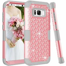 Women Samsung Galaxy S8 Plus case Rhinestone Bling Studded Resistant Cover Pink
