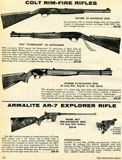 1974 Print Ad of Colt Colteer, Courier & Stagecoach, Armalite AR7 Explorer Rifle
