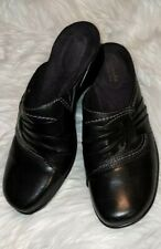 Clark's Wedge Mule Loafer size 7.5 black leather slip on shoes