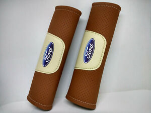 Pair Car Seat Belt Pads Shoulder Strap Cushion Covers For Ford Brown