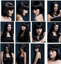 Mujer Bonito Pelo Negro Elegante alopecia temporal médica quimioterapia pelucas de cabeza de pérdida