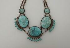 Early Miriam Haskell Czech Inspired Festoon Necklace Turquoise Peking Glass