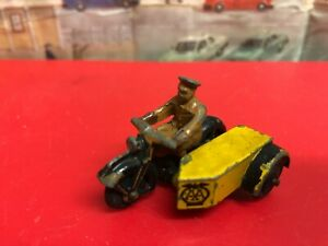 Dinky Meccano Vintage AA Motorbike side car and rider die  cast model