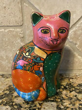 Small Mexican Folk Art Cat Figurine Hand Painted Terra Cotta Clay Pottery 1970s