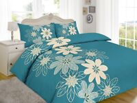 Luxury Floral Teal Design Duvet Cover Set Bedding with Pillowcase Set Bed Cover