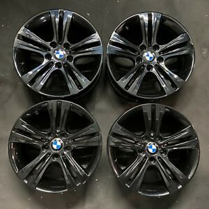 """Genuine BMW 392 17"""" Alloy Wheels GLOSS BLACK F20 E81 E82 E85 E87 E88 1 SERIES"""