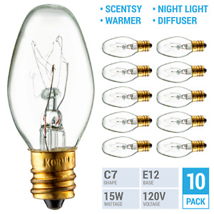 (10 Pack) 15W 15 Watt Scentsy Plug-in Wax Warmer Night Light Diffuser C7 Bulbs