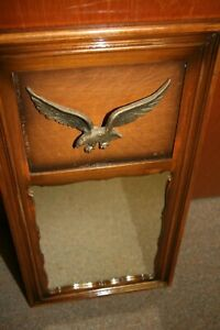 """Vintage Federal Style MIRROR with Brass Eagle, SOLID wood, AMERICANA 15"""" W x 29"""""""