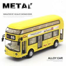 1:32 Metal Bus Pull Back Car Toy Sound Light Double-Decker Tour London City