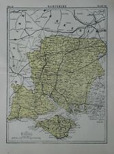 Original 1881 Map HAMPSHIRE England Southampton Portsmouth Isle of Wight Newport