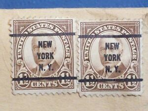 STAMP ENVELOPE 8 ½ x 11 INCH  1 ½ CENT STAMPS HARDING BROWN NEW YORK N.Y. CANCEL