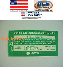 1971 Dodge Plymouth 340 Emissions Decal NEW MoPar USA