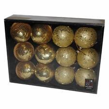 Boîte de 12 PERLE & SEQUIN Noël 80mm boules - Doré