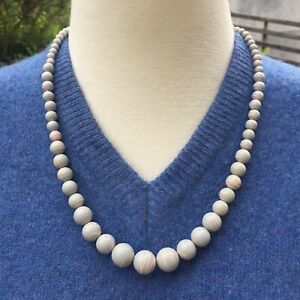 Vintage 1980's Grey & Pink Beads - Costume Jewellery Necklace