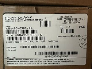 (BOX OF 25) Corning 95-200-99 Unicam Connector Pretium LC/SM OS2 dated 2020/2021