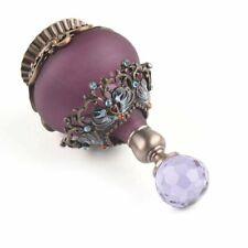 Vintage Purple Empty Refillable Metal Glass Perfume Bottle Clear Stopper Gift AU
