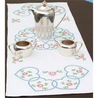 """Jack Dempsey Stamped Table Runner/scarf 15""""x42""""-starburst Of Hearts"""