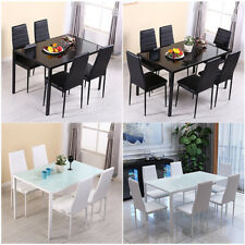 Stunning Gloss Glass Dining Table 4/6 pcs Faux Leather Chairs Set Home Furniture