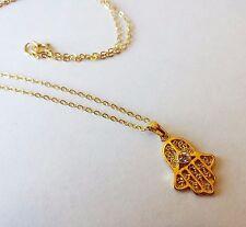 Kabbala 14K Gold filled jewish evil eye hamsa necklace pendant filigree Israel
