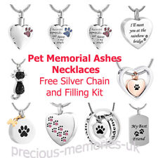 Pet Dog Cat Cremation Ashes Urn Pendant Silver Necklace Charm Bracelet Memorial