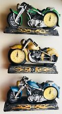 "MayRich company Motorcycle Clock Resin 9.5""Desk Clock Statue Handcrafted No.1908"