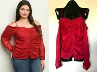 RED RUCHED PLUS HOLIDAY TOP COLD SHOULDER PINUP 3X NEW NWT