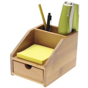 Small Desk Stationery Organiser with Drawer, Made of Bamboo