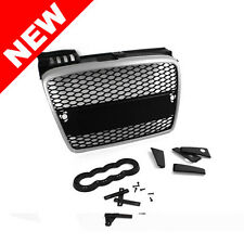05-08 AUDI A4 B7 RS-STYLE EURO MESH GRILLE W/ BADGE HOLDER - BLACK/SATIN