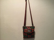 "Fossil Key Per Floral Coated Canvas Small Crossbody Handbag  - 7"" x 8"""