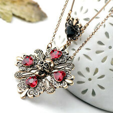 Two Layer Ruby Red Rhinestone Pendant Skull Necklace