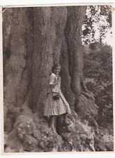 1950s Pretty young woman near Giant tree camera fashion old Soviet Russian photo