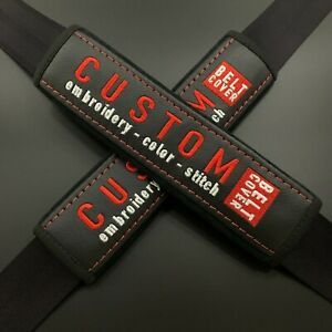 Custom and personalized seat belt shoulder pads Covers with embroidery 2PCS