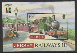 Jersey - 2009, Ibra Briefmarkenausstellung Logo, Züge Blatt - MNH - Sg MS1440